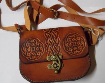 Tooled vegetable tanned leather shoulder bag