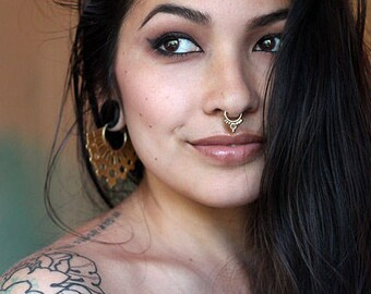 Solid 14k Yellow Gold Septum Jewelry , Nose Ring , Septum Ring , Tribal Septum Ring , Indian Septum Piercing
