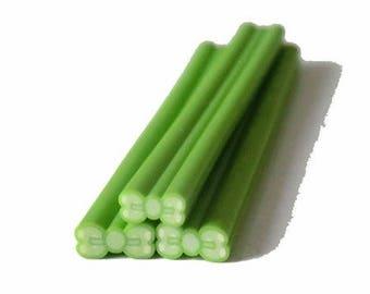 1 x cane polymer clay Green bow
