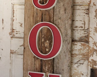 JOY with Rustic Reclaimed Wood Sign (X-003)
