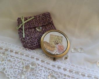 Pocket mirror & crochet pouch