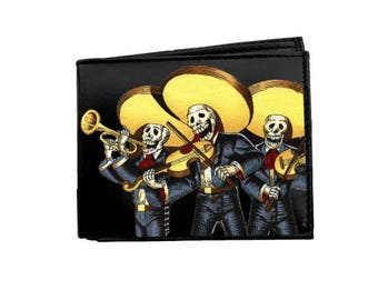 Leather Wallet Skeletons Mariachi #114