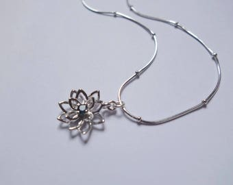 Sapphire Filigree Flower Necklace, Sterling Silver Lattice, Tiny Gemstone, Floral Jewelry, 3D Detailed Charm, Satellite Snake Chain