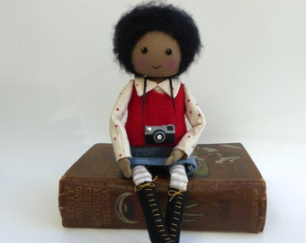 cloth doll, heirloom rag doll, handmade doll, black doll, african american doll, collectors doll, quirky doll, gift for her, Lybo doll