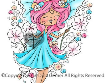 Pepper Belle Flora Digi Doodles Fairy Digi Stamp