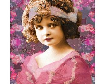 Angelic vintage young child, digital print, nursery art, photomontage, vintage child, children's wall art, vintage nursery art, fine art