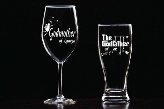 custom etched godmother wine glass godfather glass set