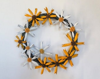 Summer Flower Wreath Black Eyed Susans Daisies
