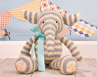 Gift For Kids, Stuffed Elephant, Baby Shower Gift, Kids Toy, Keepsake Toy, Plush Toy, Cute Plush, Handmade Toy, Knitted Toy, Striped Toy