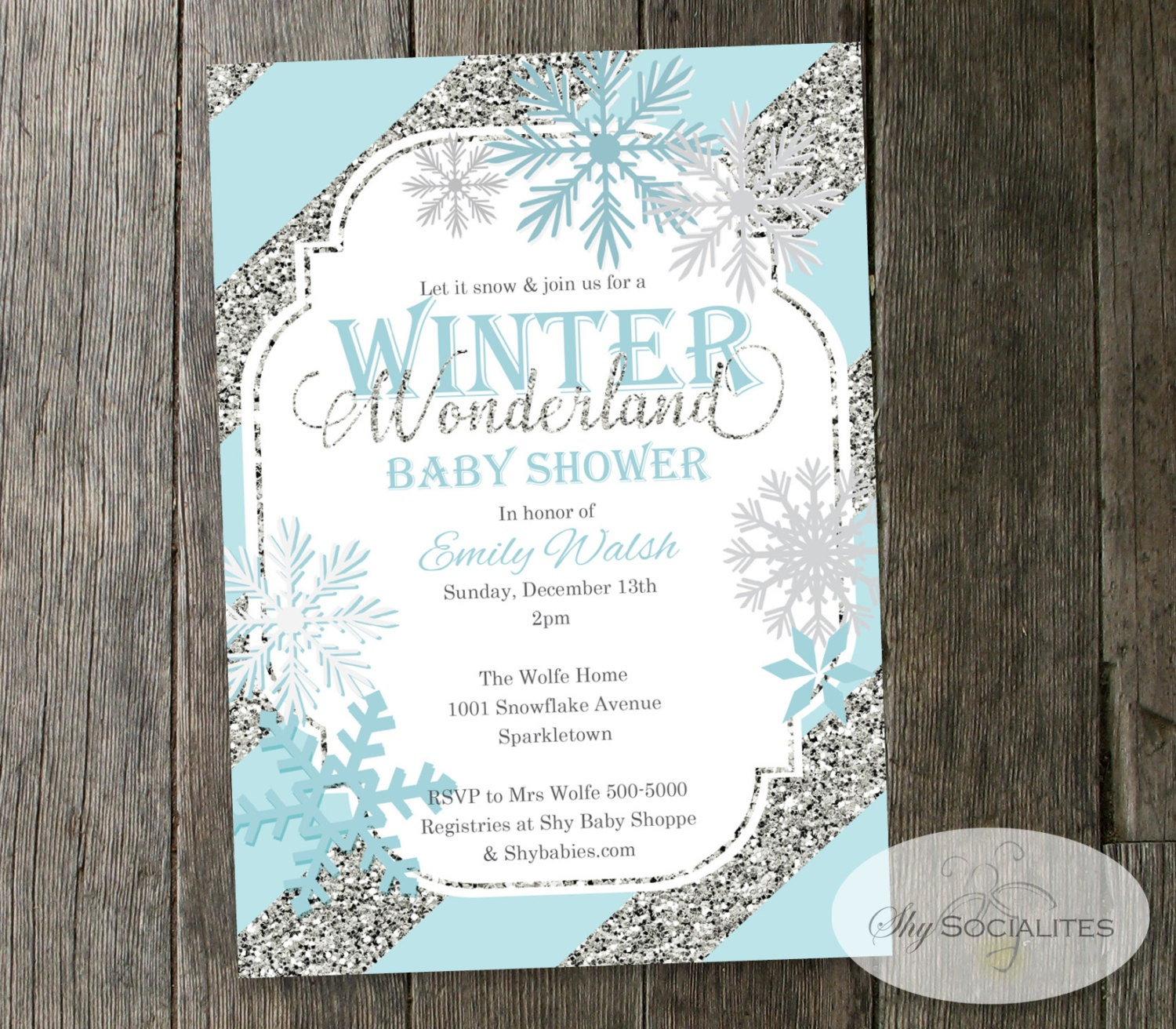 Winter Wonderland Baby Shower Invitation Snowflakes Blue &
