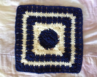 11 inch Royal Blue and Antique White Crocheted Afghan Granny Square (READY TO SHIP!)