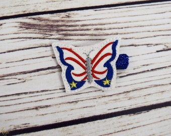 Handcrafted Sparkly Red White and Blue Butterfly Feltie Clip - 4th of July Hair Clip - Glitter Bows - July 4th Butterfly Bow - Small Clips