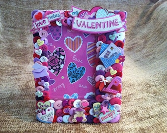 SALE - Valentine Themed Button Picture Frame