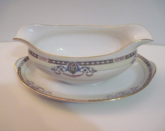 Noritake Atlanta Pattern Gravy Boat with attached plate and Gold edging