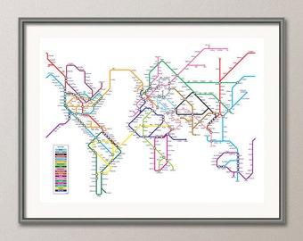 World Map as a Tube Metro Subway System, Art Print (596)