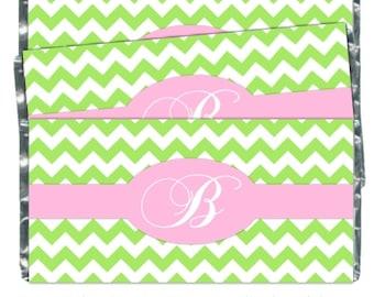Chevron Wedding Candy Wrappers, Chevron Monogram Candy Wrappers, Bridal Shower Candy Wrappers - fit over 1.55 oz chocolate bars