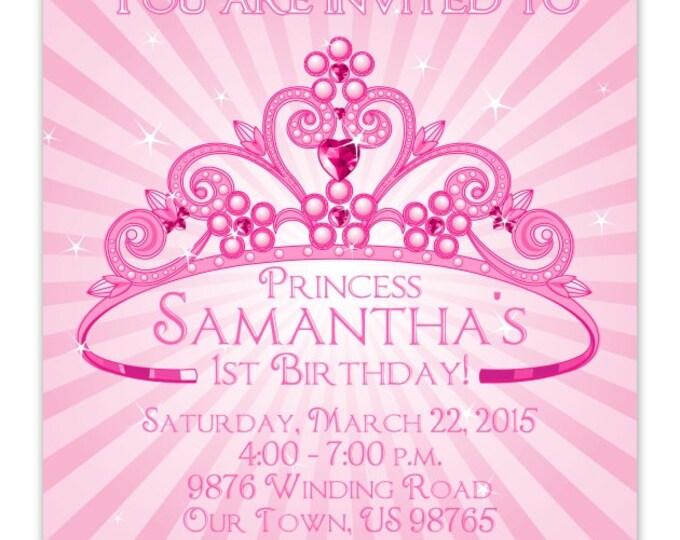 Printable Princess Invite, Princess Birthday Invitation, 1st Birthday Invite, Princess Invitation, Digital, CUSTOM 4x6, 5x7 size - YOU print