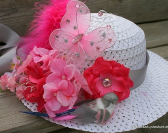 Tea Party Hat - Derby Hat - Easter Bonnet - Child's spring hat - Girls Sun Hat - Girls Cloche - Design to match your dress