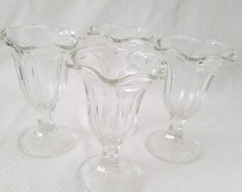 Vintage Parfait Glasses, Scolloped Rim, Soda Fountain, Set of 4