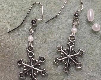 Silver and Pearl Snowflake Earrings