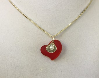 Sea Glass Red Heart with Silver Shell and White Pearl Necklace