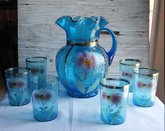 Very Very Beautiful Hand Painted Victorian Lemonade Pitcher with 6 Matching Glasses. No Chips, Cracks or Flea Bites.