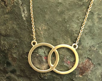 25% off 9kt Yellow Gold Geometric Circles of Life Necklace with Chain,Beat Pendant,Bestfriends Style Pendant