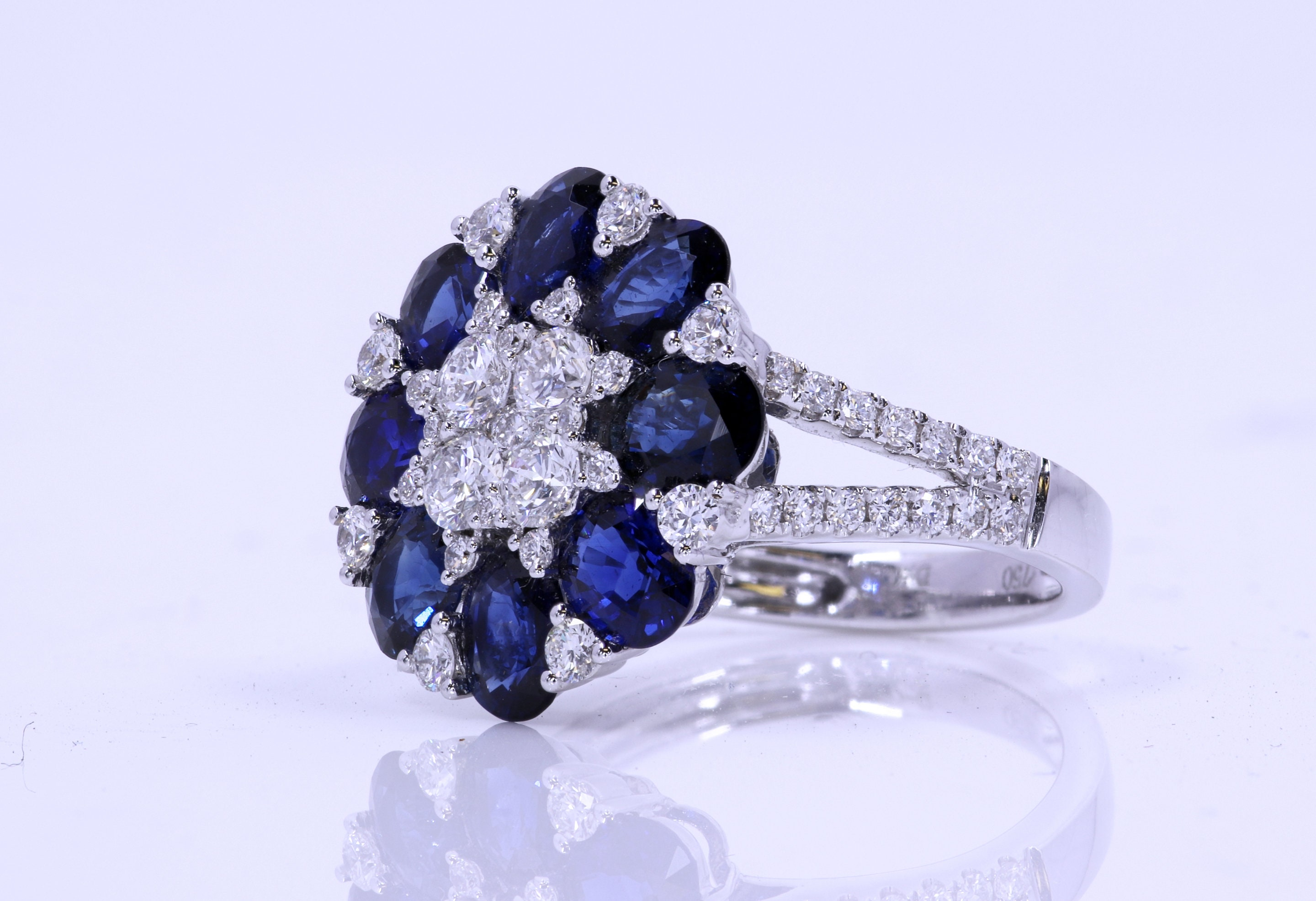 Blue Sapphire and Diamond 18 Kt White Gold Ring