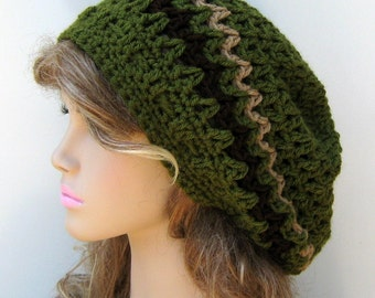 PDF Instant Download Pattern ZigZag Slouchy Beanie Hat or extend to dread tam Beginner Crochet women men permission to sell finished hats