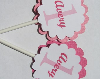 Cupcake Toppers, Set of 12, Personalized cupcake toppers