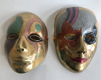 "Unique set 2 colored solid brass Mardi Gras masks 6"" each wall decor vintage India"