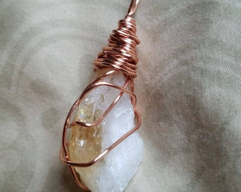 Copper Wrapped Citrine Crystal Pendant