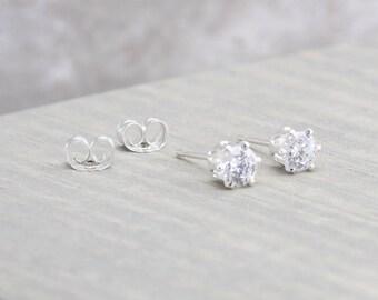 Sterling Silver White Topaz Stud Earrings - April Birthstone Earrings - 4mm Studs - April Birthday - Clear Stud Earrings - Christmas Gift