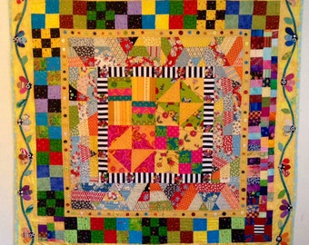Spring Quilt, Quilt art, quilted wall hanging, home decor, fabric art, hand applique