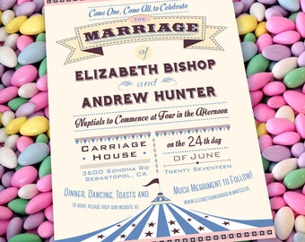 """Circus/Carnival Big Top """"Come One Come All!"""" Wedding Invitation Set with Invitation and Save the Date Card"""