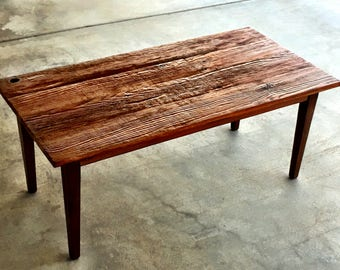 Mid-Century Modern Coffee Table Made of Reclaimed Wood