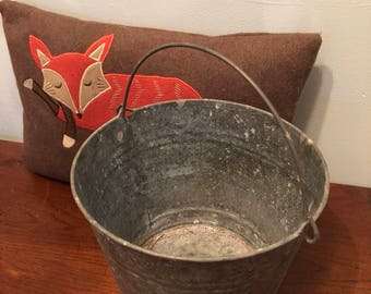 vintage galvanized bucket with metal handle