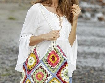 Bag with granny squares, muticolor, cotton, handmade.