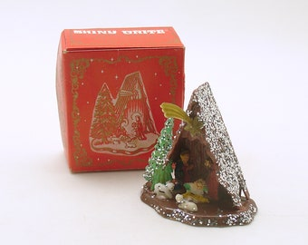 Vintage Shiny Brite Nativity Christmas Decoration Original Box