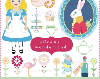 INSTANT Download. Alices Wonderland vintage clip art. Personal and commercial use.