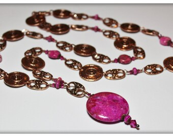 Cracklin' Rosie...Handmade Jewelry Necklace Beaded Chain Crystal Gemstone Crazy Lace Agate Pink Fuchsia Antique Copper Metal Chain Long Boho