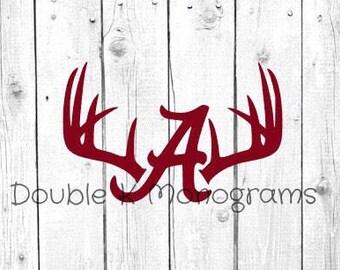 Alabama Deer Antler Decals / Hunting Decal / Crimson Decal Hunting / Yeti Decal / Cooler Decal