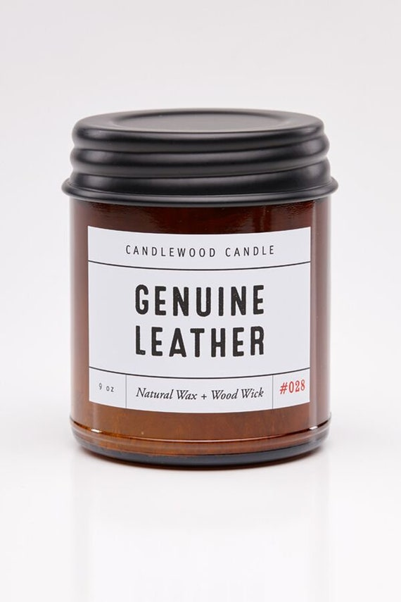 GENUINE LEATHER - Wood Fire - Natural Soy Wax Candle in Amber Jar with Black Lid 9 oz