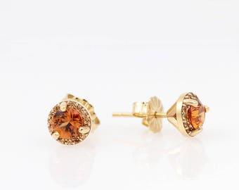 Sparkling Orange Garnet Sapphire Earrings - Gold Halo Studs - January Birthstone Earrings - Spessartine Garnets - Anniversary Gift for Her