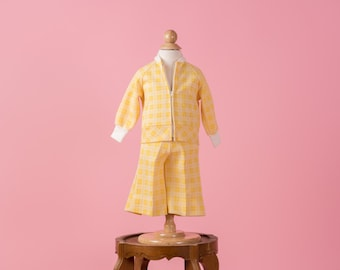 Vintage Banana Yellow Plaid Double Knit Poly Wide Leg Pants/Jacket Set (Size 12 Months)