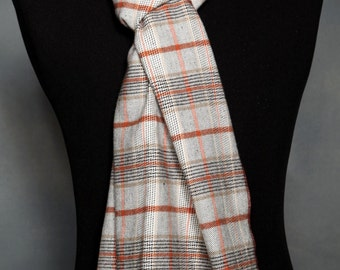 Plaid Scarf Winter Scarf Wide Scarves Men's Scarf Cotton Scarves Handmade Scarves Gray Plaid Scarf Neck Scarves Ladies Scarves Men's Gifts
