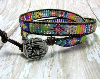 Seed Bead Leather Wrap Bracelet, Artisan Bracelet, Leather Bracelet, Southwest Bracelet, Woven Bracelet, Seed Bead Bracelet, Beaded Bracelet
