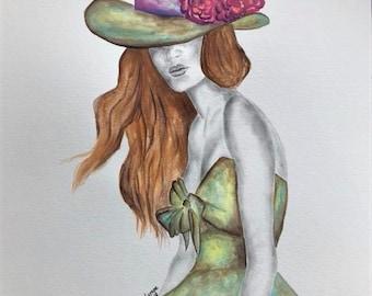 "Oritinal Illustration watercolor pencil drawing 11""x14"""