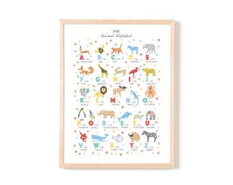 Animal Alphabet Print, Nursery Decor, Animal Alphabet Poster, Alphabet Wall Art, Kids Alphabet Poster, Animals ABC Wall Art, Personalised