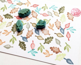 mini leaf rubber stamp set   botanical rubber stamps   autumn crafts   card making   gift wrapping   hand carved by talktothesun   set of 3